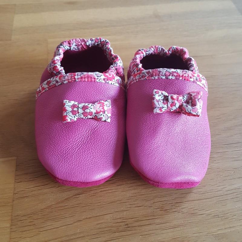 chaussons de cuir bébé végétalement tanné