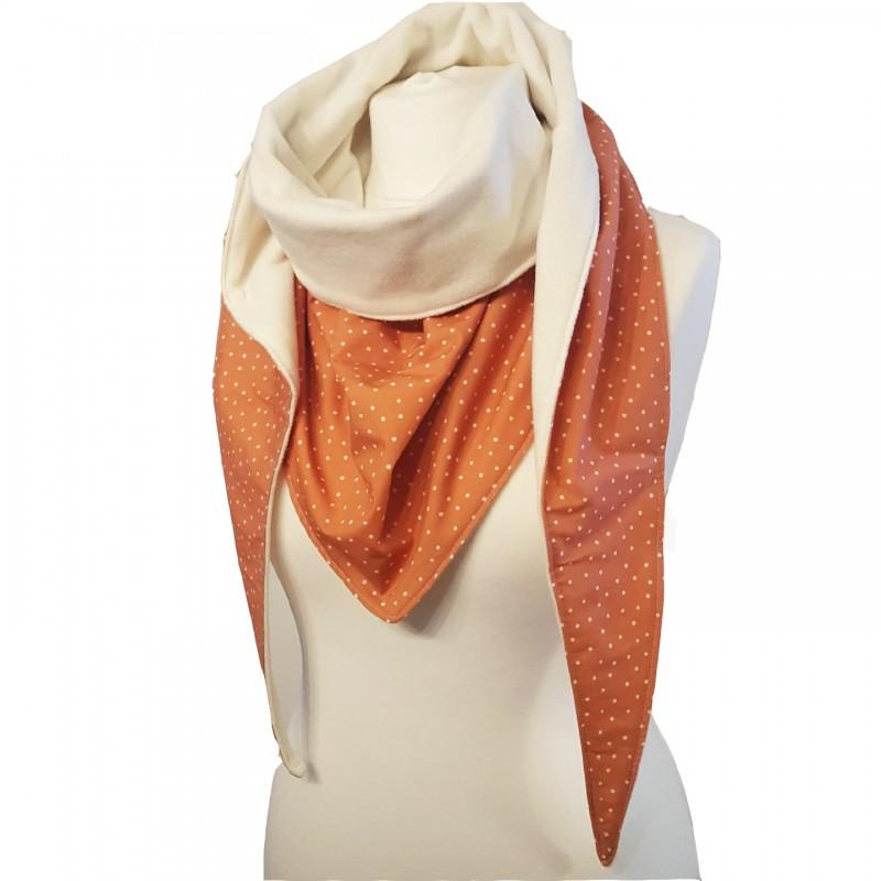écharpe couleur terracotta à pois blanc