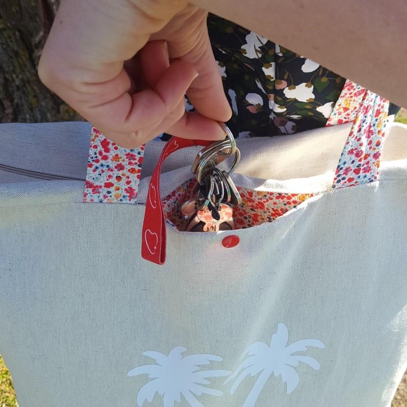 sac de plage lin et liberty, poche clefs