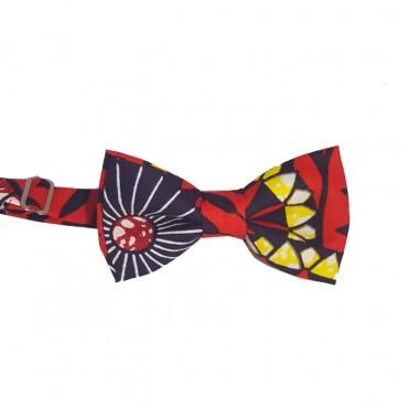 noeud papillon wax marine rouge et jaune