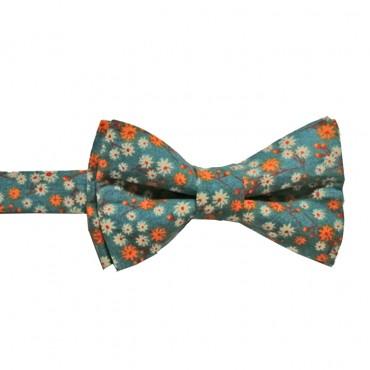 noeud papillon petites fleurs  orange , rouge et blanc  sur fond bleu gris