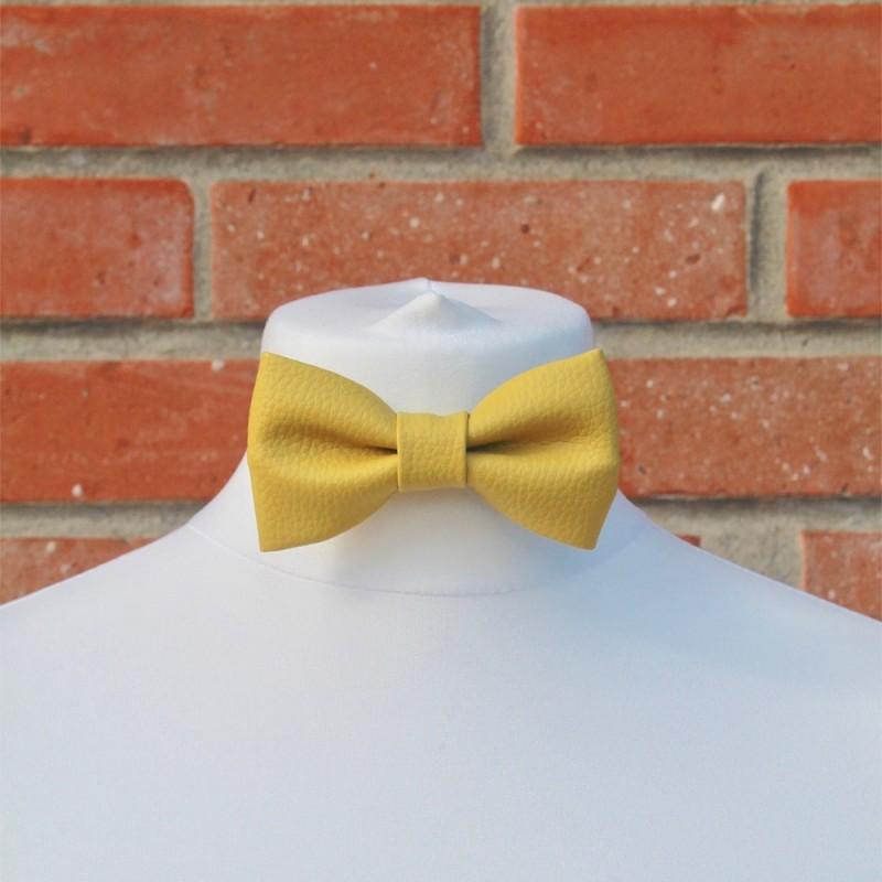 49b1a5bccde20 Hans, le noeud pap' simili cuir de couleur jaune - Flowers Sisters