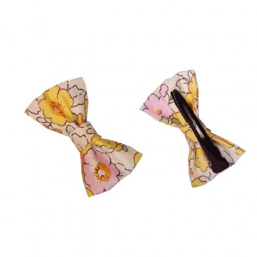 barrette fillette fleuri - tons jaune et rose